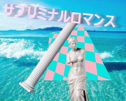 Es un collage cuyo fondo es una playa saturada en color azul. Sobre ella, un plano inclinado ajedrezado en colores azul cian y rosa pastel, con una columna jónica inclinada a la izquierda, unos kanjis japoneses en la parte superior y, en primer plano, la Venus de Milo
